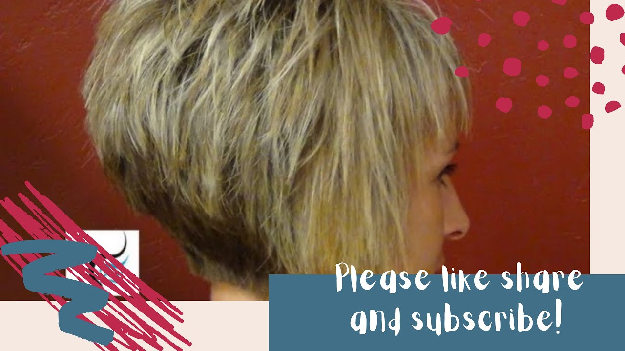 ... Short Stacked Haircut with Straight Bangs Girl Hairstyle - YouTube