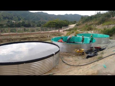Curiosidade - montagem tanque circular em geomembrana.
