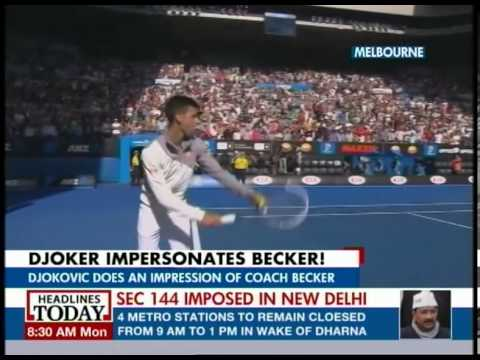 Djokovic impersonates coach Boris Becker