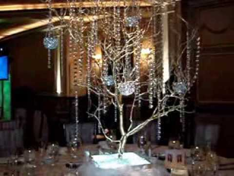 Manzanita Branch Crystal Tree Centerpiece RENTALS in Gold at VIP Country Club New Rochelle NY
