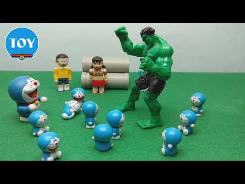Doraemon tôn ngộ không đánh Chaien khổng lồ xanh Hulk - hoạt hình doremon chế đồ chơi trẻ em