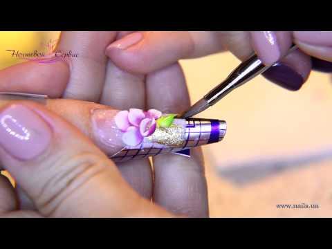 """Наращивание ногтей в стиле """"Аквариум"""". Дизайн - """"Цветущий сад""""."""