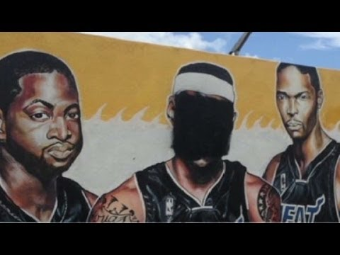 LeBron James defaced in Miami Heat mural