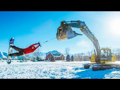 Track Hoe Snowboarding! In 4K!