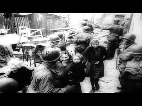 Allied Forces push into Germany during World War II HD Stock Footage