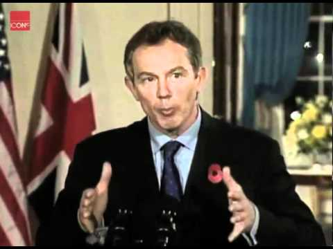 George Bush and Tony Blair speak to the press about the war in Afghanistan.