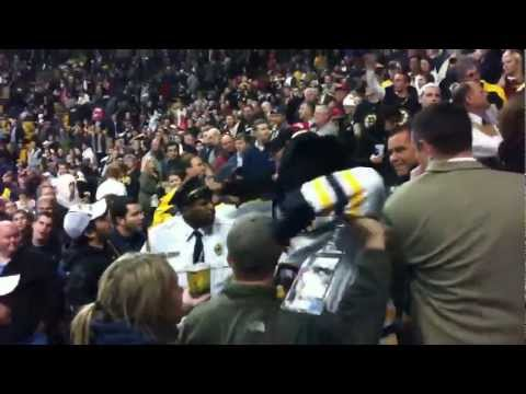 Crowd fight in stands at Boston Bruins - Montreal Canadiens Hockey Game November 21 2011 in HD