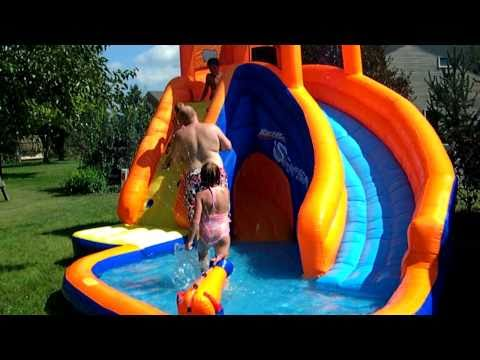 Kids playing on new waterslide 8 2010