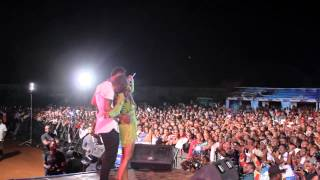Tiwa Savage seductively dances with a lucky guy on stage