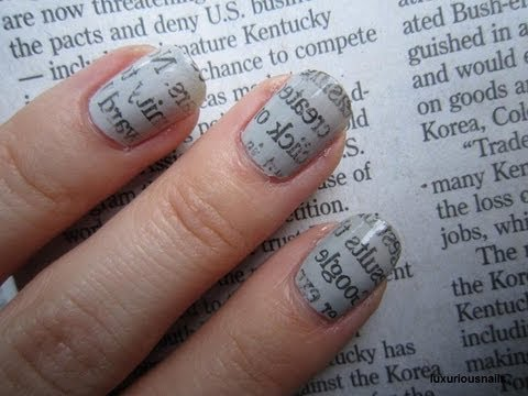 Newspaper Print Nail Art Tutorial