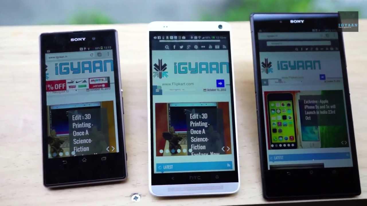 HTC One Max vs Xperia Z Ultra and Xperia Z1