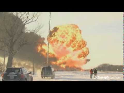 Huge fireball as oil train derails in North Dakota