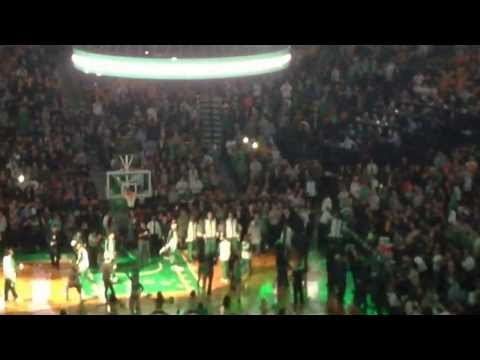 Rajon Rondo 1st intro Captain; Celtics lineup. Boston Celtics vs Los Angeles Lakers 1/17/14