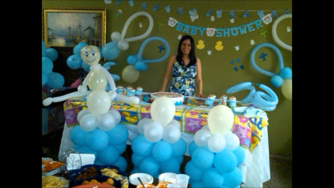 Decoracion baby shower baby shower balloon decoration for Balloon decoration ideas youtube