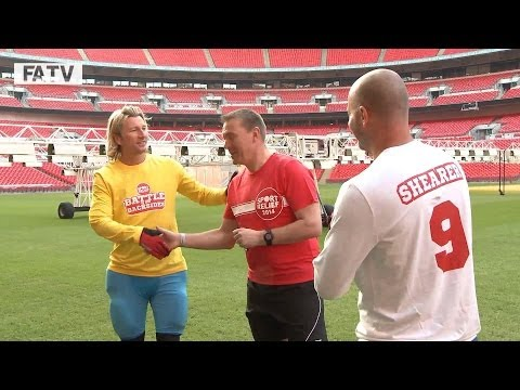 BATTLE OF THE BACKSIDES DAY 1: Shearer & Savage kick-off Sport Relief challenge @ Wembley