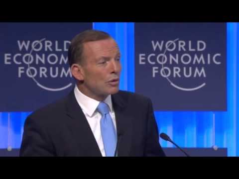 Tony Abbott calls on Davos elite to be 'missionaries' for free trade -- video