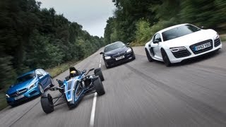 Road-legal 1.0-litre Formula Ford EcoBoost Vs Audi R8, BMW