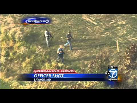 Md. cop shot in exchange of gunfire, suspect sought