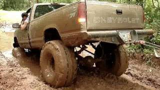 POLARIS RANGER Pulls Chevy MUD TRUCK 4x4 OUT OF MUD At Red
