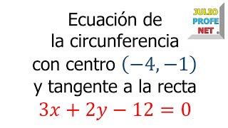 Ecuación de una circunferencia tangente a una recta dada