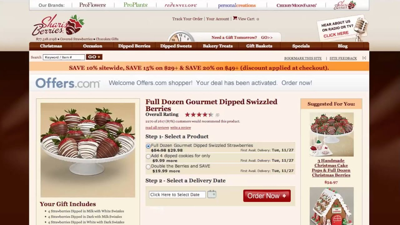Shari's Berries Black Friday Deals Don't miss out on Black Friday discounts, sales, promo codes, coupons, and more from Shari's Berries! Check here for any early-bird specials and the official Shari's Berries sale. Don't forget to check for any Black Friday free shipping offers!