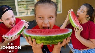 WATERMELON Eating Contest! 🍉 Fun Pool Party Challenge!