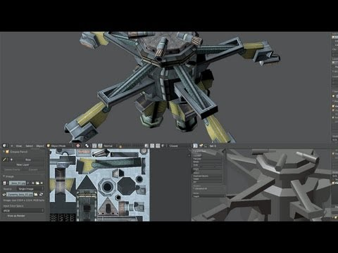 'Fractal Combat' game asset, Hard Surface Modeling & Texturing in Blender