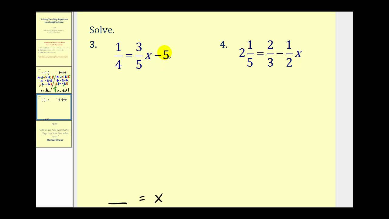solving two step equations involving fractions youtube. Black Bedroom Furniture Sets. Home Design Ideas