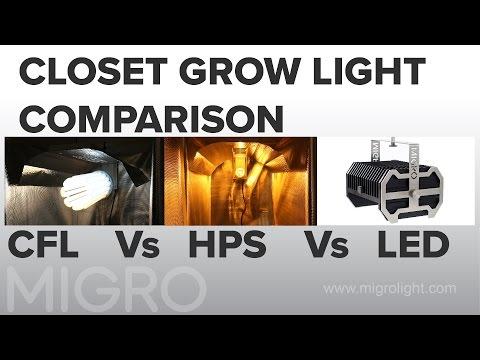 Closet grow light comparison CFL vs HPS vs LED