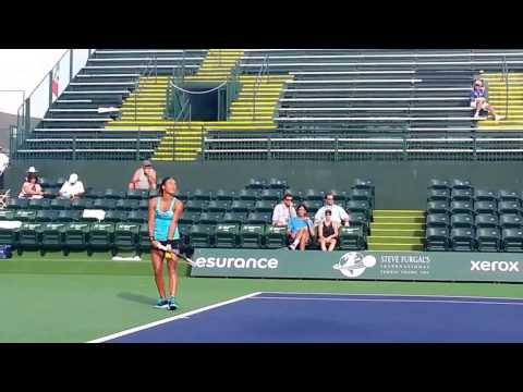 Heather Watson & Belinda Bencic in Indian Wells 3-5-2014 serve, service return and footwork