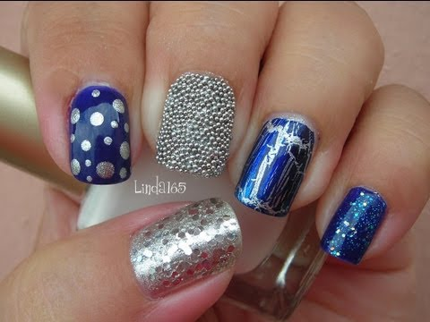 Nail Art - Eclectic Blue Mix & Match Manicure - Decoracion de Uñas