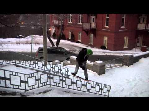 Alan Gerlach - 22 Stair Double Kink Handrail Fs Board on a Snowskate