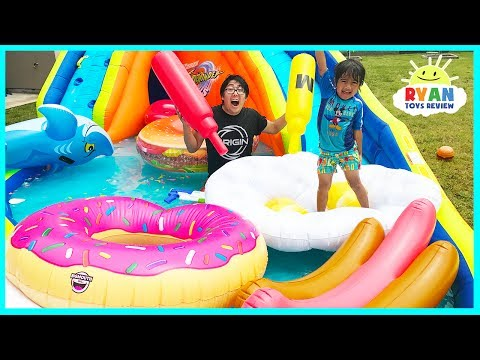 Giant Inflatable Water Slide for kids with Pool Party Giant Floats Food and Family Fun water toys