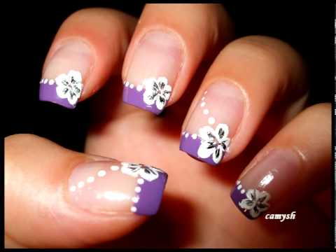Purple French And White Flowers Nail Art Tutorial Pink And