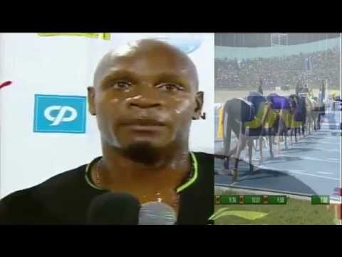 Asafa Powell destroys Ryan Bailey, Jamaica International Invitational complete with interview