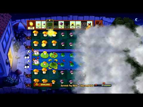 Plants Vs Zombies - Xbox 360 - Survival Fog Hard Part 1