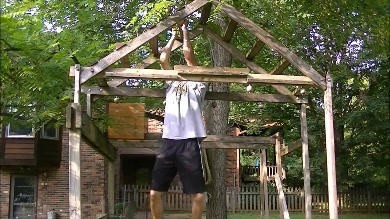 Backyard American Ninja Warrior Obstacle Course : Homemade Ninja Warrior Obstacle Course  YouTube