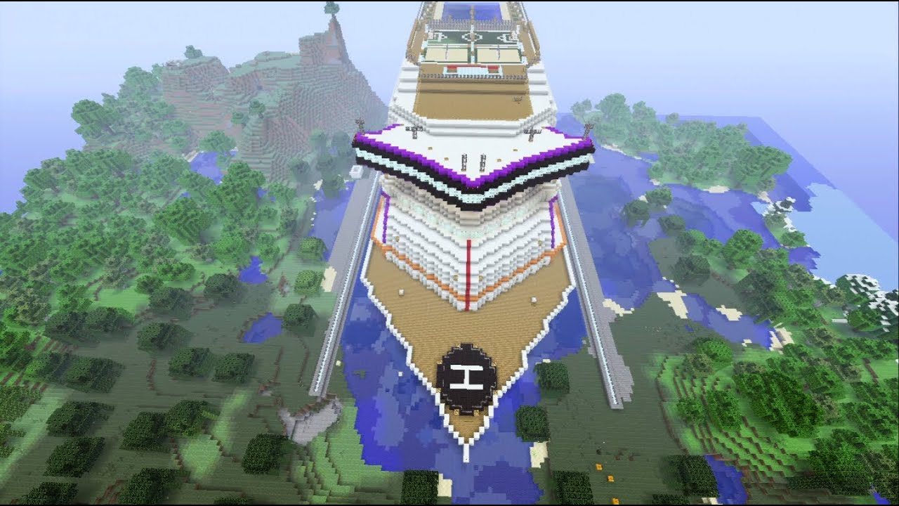 Minecraft Xbox  Huge Cruise Ship Fly Over  Prestige Sur