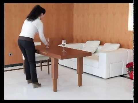 Mesa de centro elevable y extensible convertible en mesa for Mesa elevable y extensible