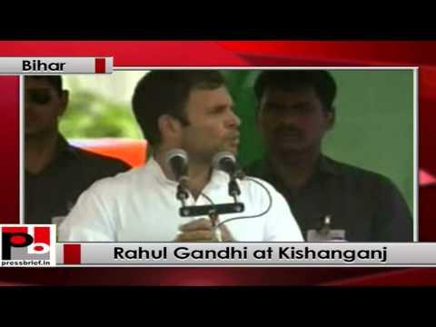 Rahul Gandhi addresses an election rally in Kishanganj (Bihar)
