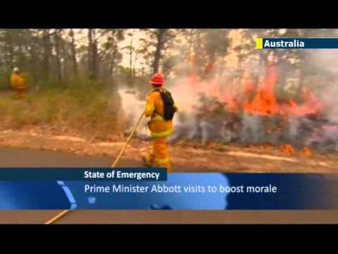 State of Emergency in New South Wales: Australian PM Tony Abbott visits scene of bushfires