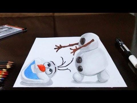 Como desenhar o Olaf (Frozen) em 3D - Passo a Passo - How to draw Olaf from Frozen em 3D