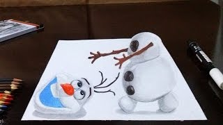 Como Desenhar O Olaf (Frozen) Em 3D Passo A Passo How
