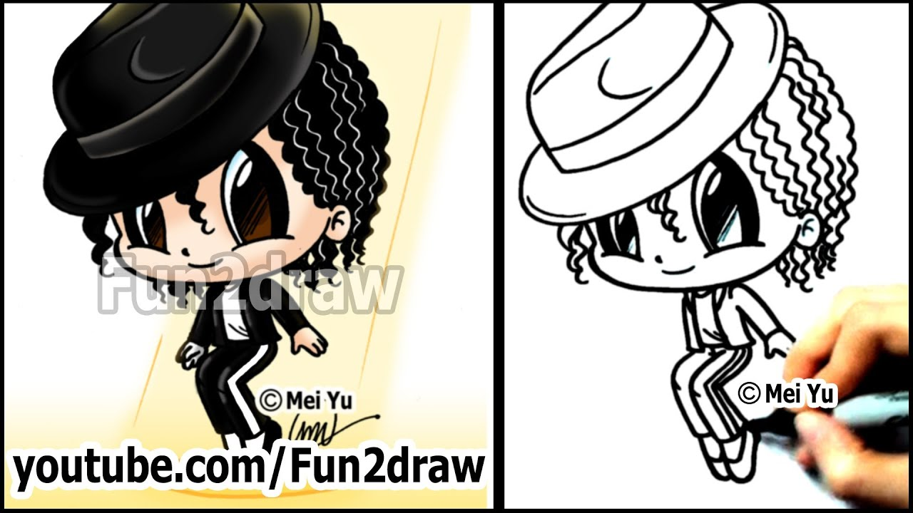 Michael jackson cartoon drawing lesson how to draw for Fun to draw people