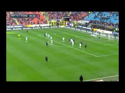 Fredy Guarin strong long-distance free kick vs Cagliari (23.02.2014)