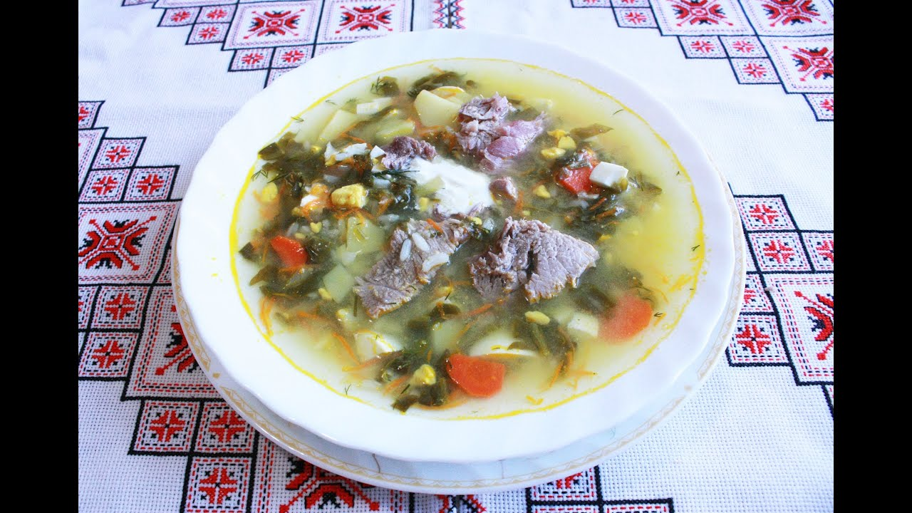 Суп из щавеля с яйцом и курицей пошаговый