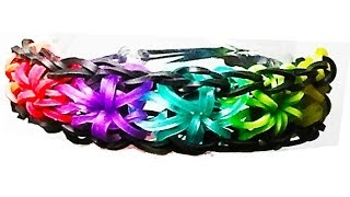 HOW TO MAKE A RAINBOW LOOM STARBUST BRACELET WITH RUBBER