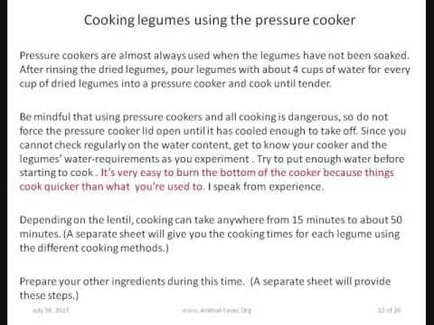 Cooking Legumes, Beans, Lentils, Pulses