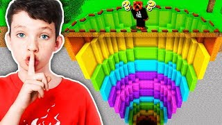 I FOUND my LITTLE BROTHER'S *SECRET* MINECRAFT RAINBOW DROPPER!