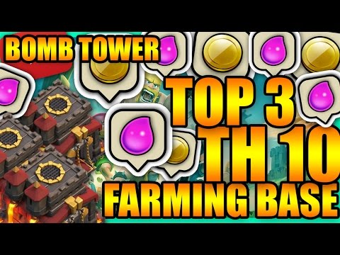Clash Of Clans - TOP 3 Town Hall 10 (TH10) Farming Base/Hybrid Base with Bomb Tower + Defense Replay